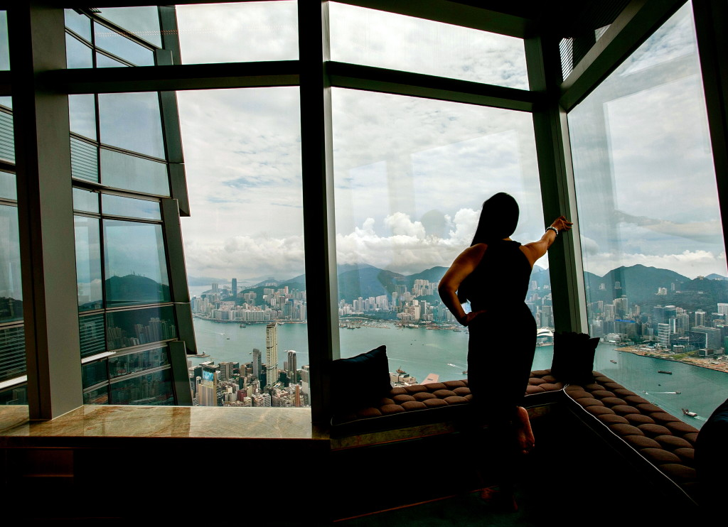 ESCAPESEEKER Perched high above Victoria Harbor...getting a Presidential Perspective from the Ritz-Carlton, Hong Kong, the highest hotel in the world!