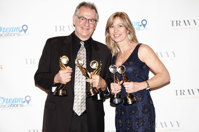 Rudi Schreiner and Kristin Karst, received the 2016 Travvy Awards in New York City where AmaWaterways was honored to receive 6 Gold trophies including the coveted Best River Cruise Line Overall and Most Innovative Executive.