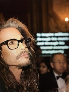 Seeing this image captured by photographer, Don Pollard during my introduction of Steven Tyler at the 2016 United Nations Ambassadors' Ball. Those are my words, penned on Friday, submitted to the Secretary General's team for approval then sent on Saturday at 2 a.m. the day of the event to Steven's Production Manager to add to their teleprompter operator's roster. And, these are the very sentiments I expressed and which Steven was hearing for the very first time when this moment was captured.